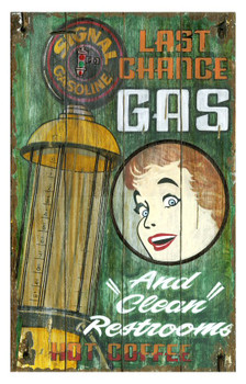 Custom Last Chance Gas Vintage Style Wooden Sign