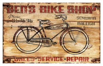 Custom Bens Bike Shop Vintage Style Wooden Sign