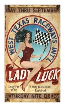 Custom West Texas Raceways Lady Luck Vintage Style Wooden Sign