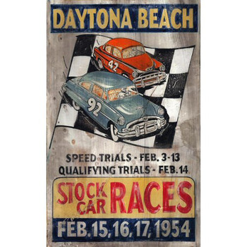 Custom Daytona Beach Stock Car Races Vintage Style Wooden Sign