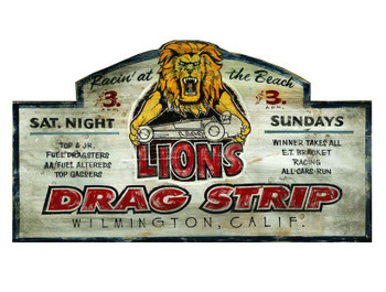 Custom Lions Drag Strip Vintage Style Wooden Sign