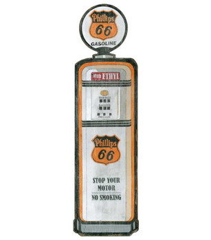Custom Phillips 66 Gas Pump Cutout Vintage Style Wooden Sign