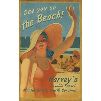 Custom Harveys Seaside Resort Vintage Style Wooden Sign