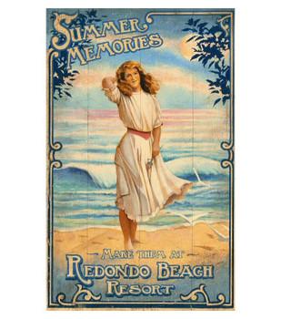 Custom Summer Breeze Beach Girl Vintage Style Wooden Sign