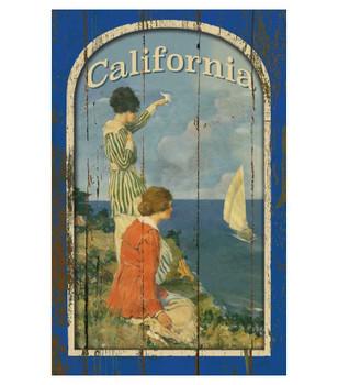 Custom California Coast Vintage Style Wooden Sign
