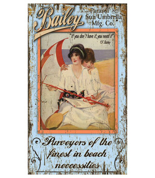 Custom Parasol Sun Umbrella Beach Vintage Style Wooden Sign