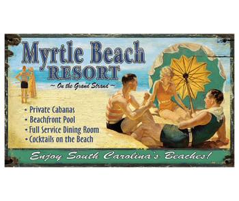 Custom Myrtle Beach Resort Vintage Style Wooden Sign