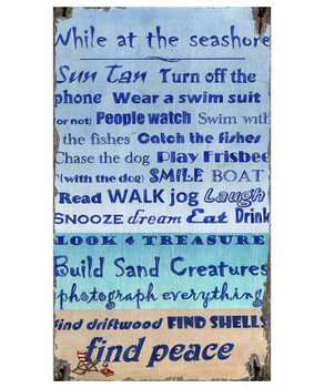 Custom Peace at the Beach Sayings Vintage Style Wooden Sign