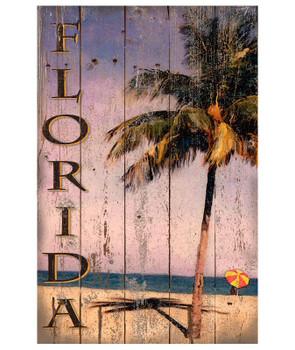 Custom Florida Beach Palm Tree Vintage Style Wooden Sign