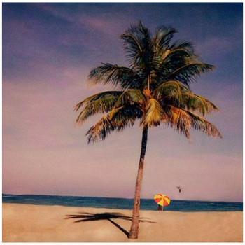 Custom Palm Tree & Umbrella on Beach Vintage Style Wooden Sign