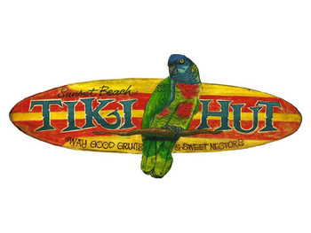 Custom Sunset Beach Tiki Hut Vintage Style Wooden Sign