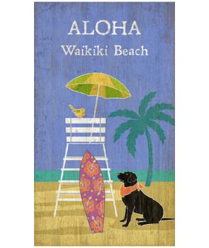 Custom Lifeguard Dog on Beach Vintage Style Wooden Sign