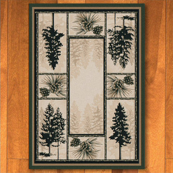 8' x 11' Stoic Pines Forest Nature Rectangle Rug