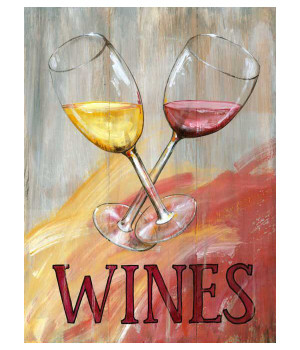 Custom Wine Glasses Vintage Style Wooden Sign