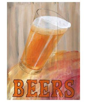 Custom Beer Glass Vintage Style Wooden Sign