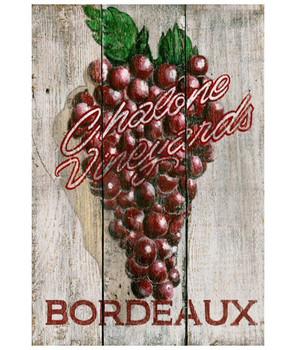 Custom Bordeaux Grapes Vintage Style Wooden Sign