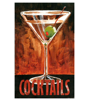 Custom Martini Cocktails Vintage Style Wooden Sign