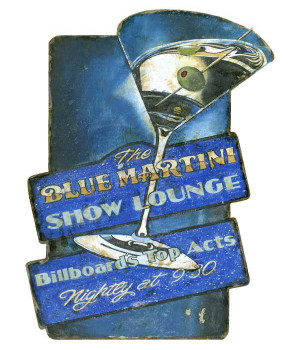 Custom Blue Martini Show Lounge Vintage Style Wooden Sign
