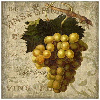 Wine Green Grapes Vintage Style Wooden Sign