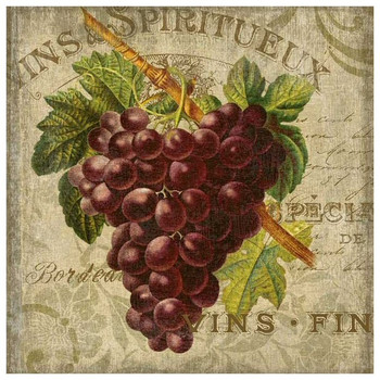 Wine Red Grapes Vintage Style Wooden Sign