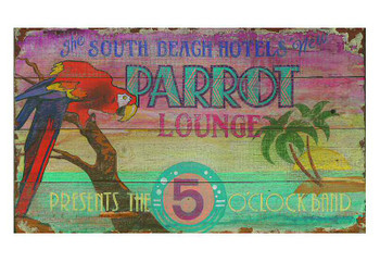 Custom South Beach Hotels New Parrot Lounge Vintage Style Wooden Sign