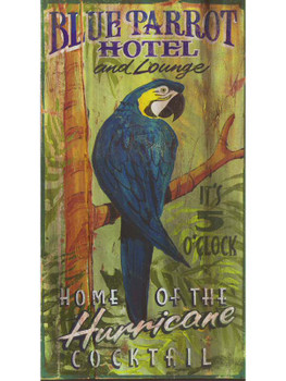 Custom Blue Parrot Hotel and Lounge Vintage Style Wooden Sign