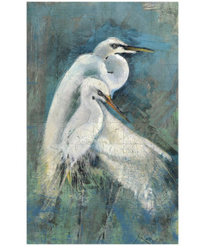 Custom Egret Pair Vintage Style Wooden Sign