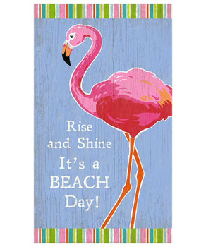 Custom Flamingo Bird Rise and Shine Vintage Style Wooden Sign