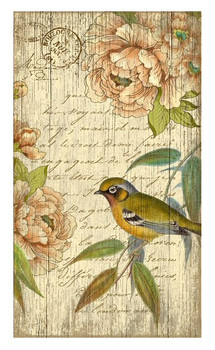 Right Bird with Flowers Vintage Style Wooden Sign
