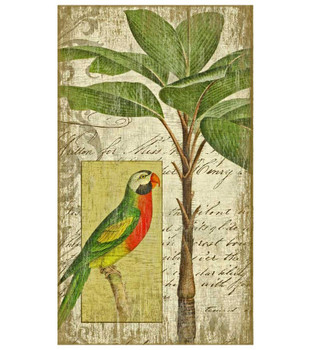Tropical Parrot Bird I Vintage Style Wooden Sign