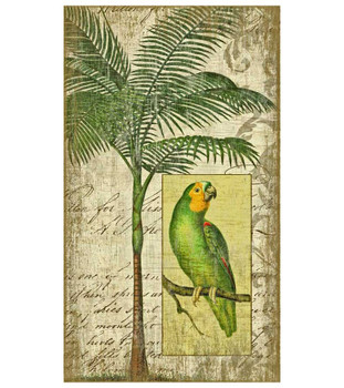 Tropical Parrot Bird II Vintage Style Wooden Sign