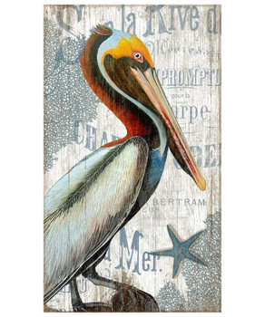 Pelican Bird Vintage Style Wooden Sign