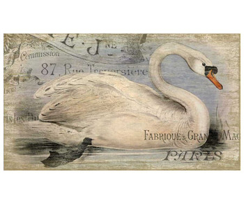 French Swan Bird Vintage Style Wooden Sign