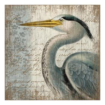 Blue Heron Bird Vintage Style Wooden Sign