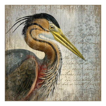 Red Heron Bird Vintage Style Wooden Sign