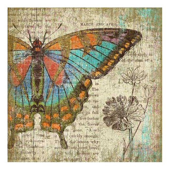 Left Butterfly Vintage Style Wooden Sign