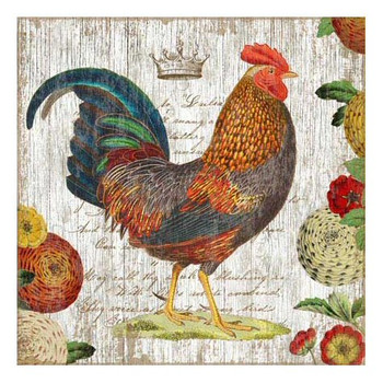 Colorful Blue Tail Rooster Vintage Style Wooden Sign