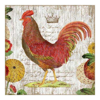 Colorful Red Rooster Vintage Style Wooden Sign