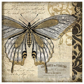 Classic Butterfly II Vintage Style Wooden Sign