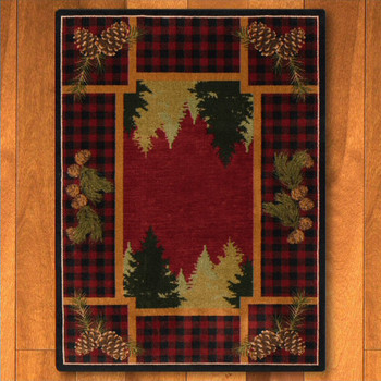 8' x 11' Plaid Woodsman Red Nature Rectangle Rug