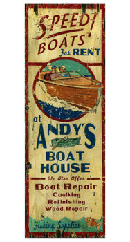 Custom Andys Boat House Vintage Style Wooden Sign