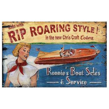 Custom Chris Craft Boat Sales Vintage Style Wooden Sign