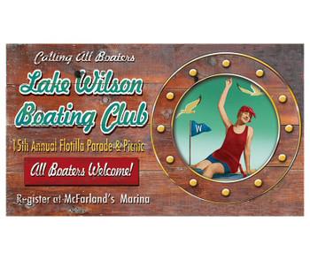 Custom Lake Wilson Boating Club Vintage Style Wooden Sign