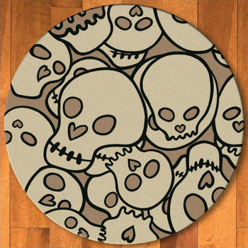 8' Head Banger Skulls Natural Round Rug
