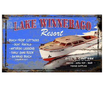 Custom Lake Winnebago Resort Vintage Style Wooden Sign