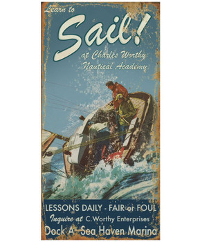 Custom Learn to Sail Lessons Vintage Style Wooden Sign