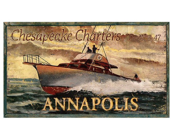 Custom Chesapeake Charters Boating Vintage Style Wooden Sign