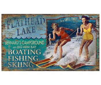 Custom Water Ski Boating Flathead Lake Vintage Style Wooden Sign
