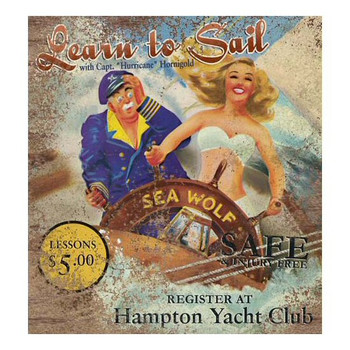 Custom Learn to Sail Vintage Style Wooden Sign