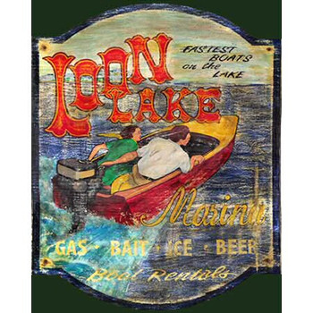 Custom Large Loon Lake Speed Boat Vintage Style Wooden Sign